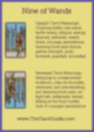 Nine of Wands Tarot Flashcard showing the best keyword meanings for the upright & reversed card, free online Minor Arcana flashcards, made by professional psychic Tarot reader, The Tarot Guide, the easy way to learn how to accurately read Tarot.