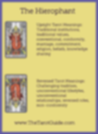 The Hierophant Tarot flashcard upright and reversed meaning by The Tarot Guide, Major Arcana, free Tarot reading, reincarnation, witch, magic, rose quartz, crystals, reiki massage, celtic cross, physic, clairvoyant, tarot reading Cork,