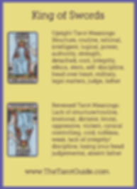 King of Swords Tarot Flashcard showing the best keyword meanings for the upright & reversed card, free online Minor Arcana flashcards, made by professional psychic Tarot reader, The Tarot Guide, the easy way to learn how to accurately read Tarot.
