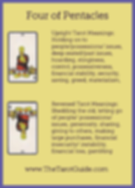 Four of Pentacles Tarot Flashcard showing the best keyword meanings for the upright & reversed card, free online Minor Arcana flashcards, made by professional psychic Tarot reader, The Tarot Guide, the easy way to learn how to accurately read Tarot.