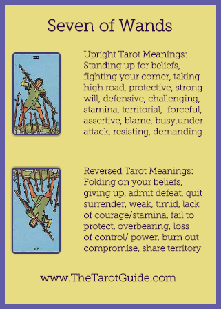 Seven of Wands Tarot Flashcard showing the best keyword meanings for the upright & reversed card, free online Minor Arcana flashcards, made by professional psychic Tarot reader, The Tarot Guide, the easy way to learn how to accurately read Tarot.