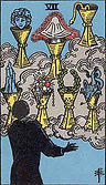 Seven of Cups Tarot card upright and reversed meaning by The Tarot Guide, Minor Arcana, Seven of Cups Tarot, Tarot card meanings, Seven of Cups Tarot card,  Seven of Cups Tarot reversed, Seven of Cups Tarot card reversed, Tarot Seven of Cups reversed