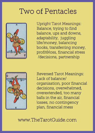 Two of Pentacles Tarot Flashcard showing the best keyword meanings for the upright & reversed card, free online Minor Arcana flashcards, made by professional psychic Tarot reader, The Tarot Guide, the easy way to learn how to accurately read Tarot.
