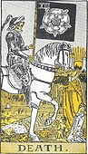 Death Tarot card upright and reversed meaning by The Tarot Guide, Major Arcana, Death Tarot, Tarot card meanings, Death Tarot card, Death Tarot meaning, Death Tarot reading,  Tarot Death, Death reversed, Death Tarot card reversed, Tarot Death reversed,