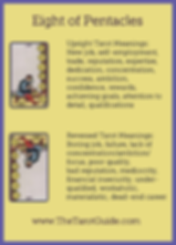 Eight of Pentacles Tarot Flashcard showing the best keyword meanings for the upright & reversed card, free online Minor Arcana flashcards, made by professional psychic Tarot reader, The Tarot Guide, the easy way to learn how to accurately read Tarot.