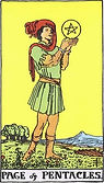 Page of Pentacles Tarot card upright and reversed meaning by The Tarot Guide, Minor Arcana, Tarot Page of Pentacles, Page of Pentacles reversed, Page of Pentacles Tarot reversed, Online Tarot, Love Tarotv Page of Pentacles Tarot, Tarot London, Tarot Dublin