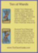 Ten of Wands Tarot Flashcard showing the best keyword meanings for the upright & reversed card, free online Minor Arcana flashcards, made by professional psychic Tarot reader, The Tarot Guide, the easy way to learn how to accurately read Tarot.