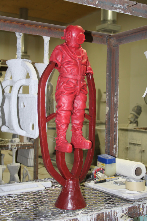 The main wax is complete and the gates or channels that the bronze will eventually flow down have been added
