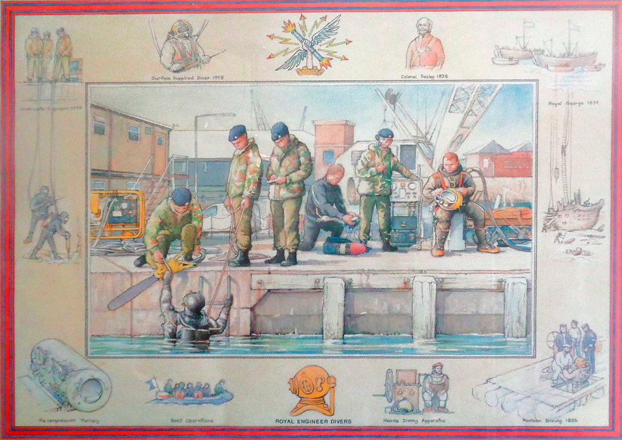With thanks to John Forbes for sending this magnificent drawing of a task carried out at Teignmouth jetty refurbishing rubbing strips.