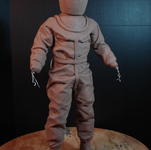 The suit is starting to show the wrinkles and creases and the initial helmet shape and corslett are formed.