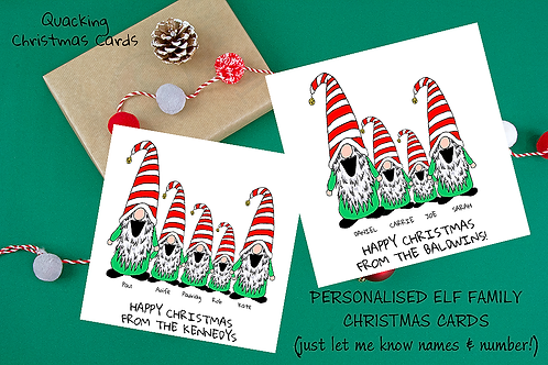 CHRISTMAS ELVES (family personalised cards)
