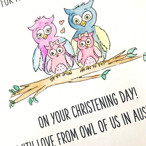 Love from Owl of Us Christening Card