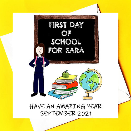 First Day of School *Good Luck personalised card*