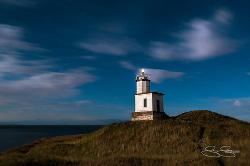 "Cattle Point Lighthouse By Full Moon Light (36""x24"")"