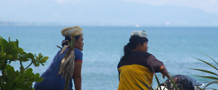 2 Dayak Women Looking Out At The South China Sea