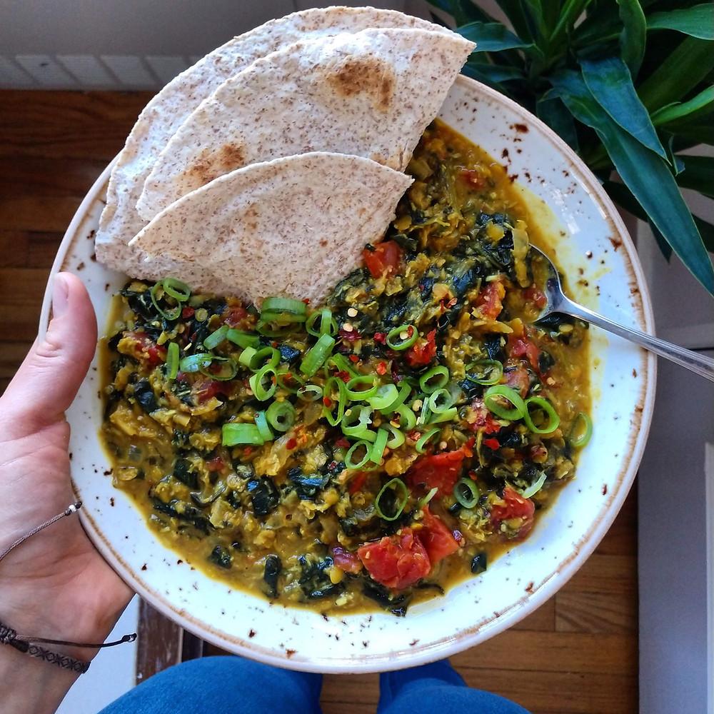 Vegan red lentil stew made with pantry ingredients
