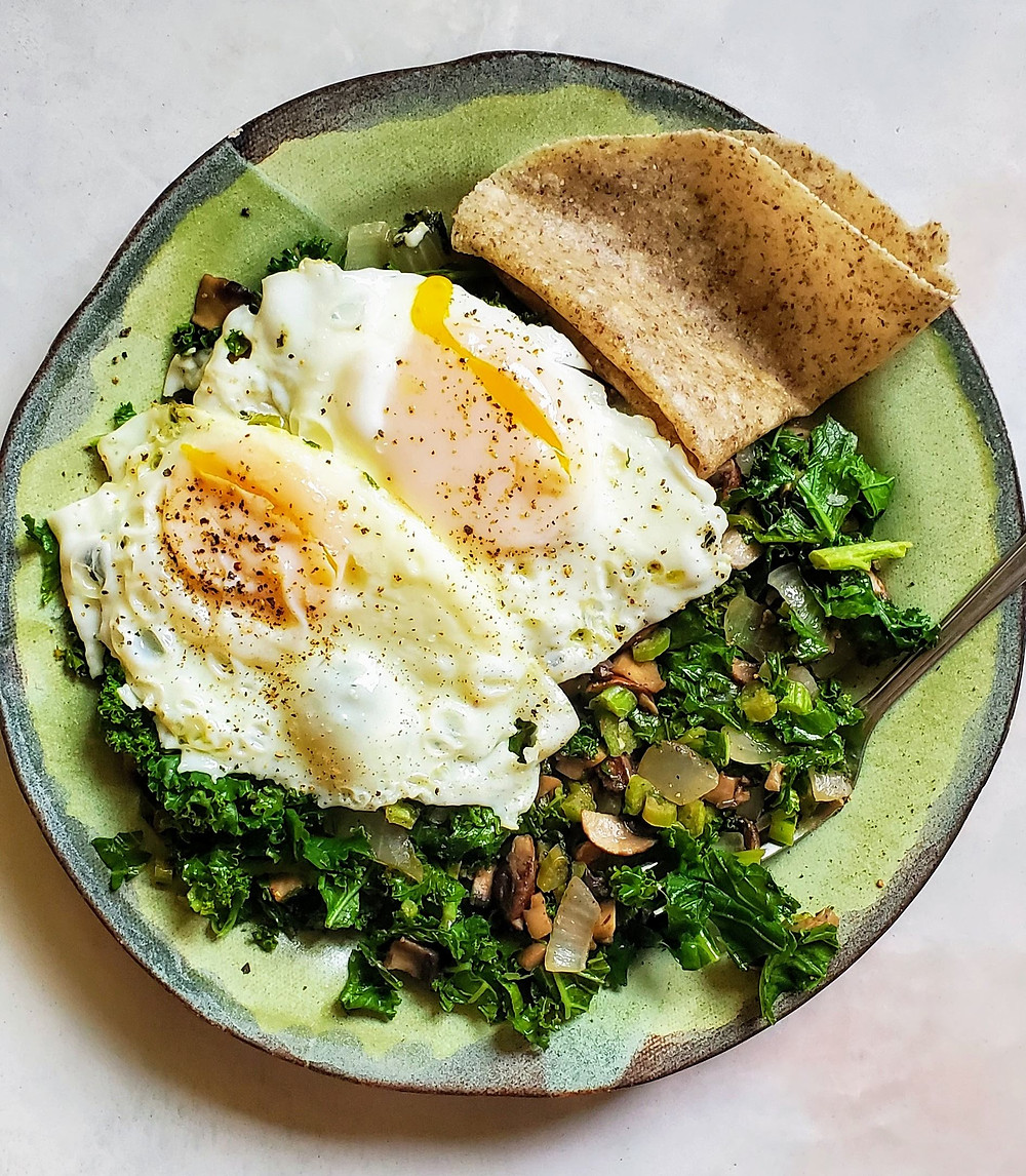 Breakfast Hash with Vegetables, Kale and Fried Eggs