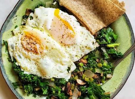 Vegetable Hash with Fried Eggs