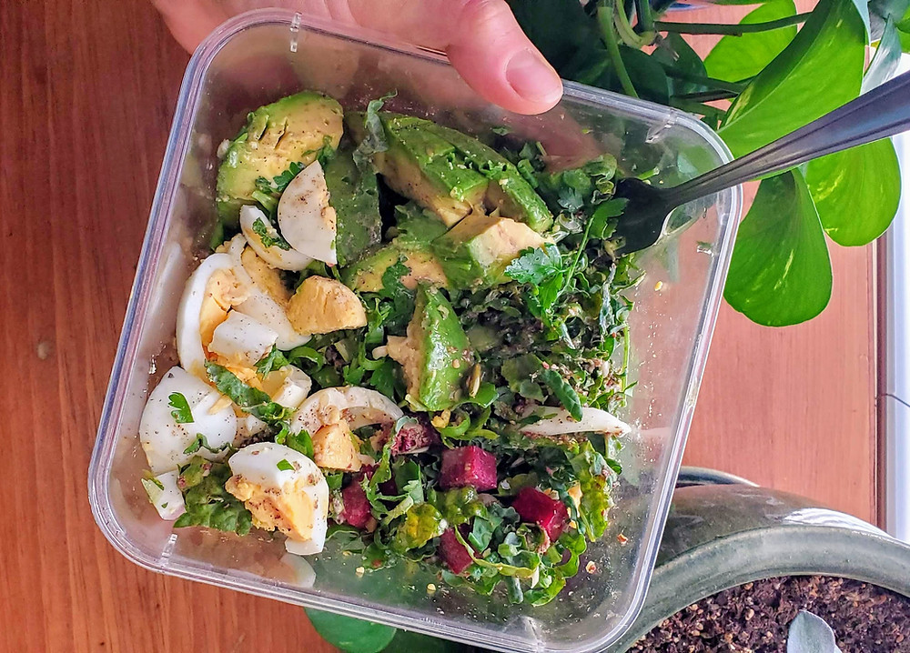 Breakfast Salad with Eggs and Avocado