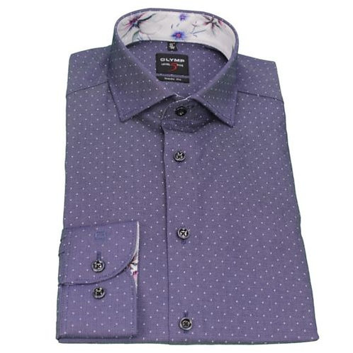 Olymp Men's Body Fit Shirt Level 5 Purple Dotted