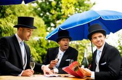 Black Herringbone Tails Group Ascot