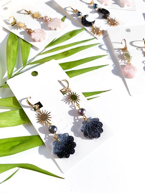 Ombre Black Pearl Earrings