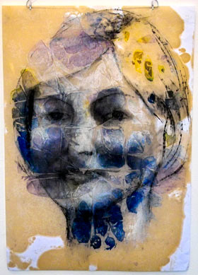 Portrait of Griselda Pollock from Stitch Up...Think Woman Exhibition (2004)