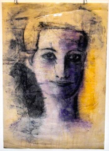 Helene Cixous - oil on paper, from 'Stit