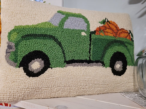 green Truck with Pumpkins