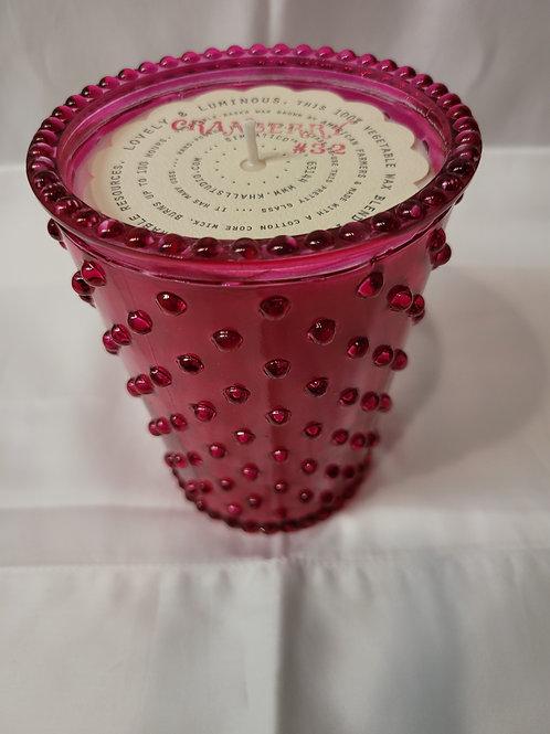 Cranberry Hobnail Candle