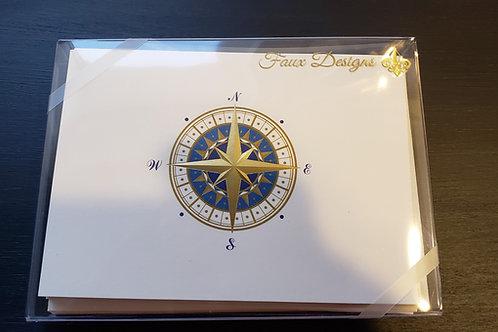 Faux Design Compass Rose Cards