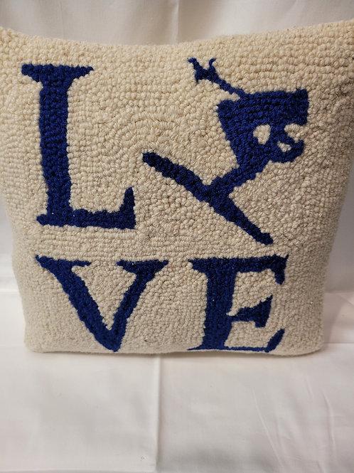 Love Ski needlepoint pillow