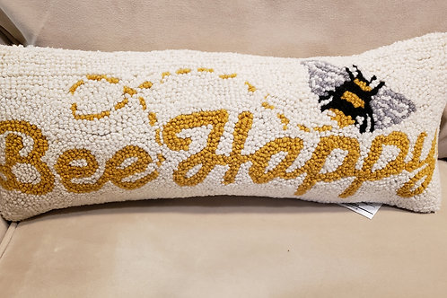 Bee Happy Hooked pillow with velvet backing
