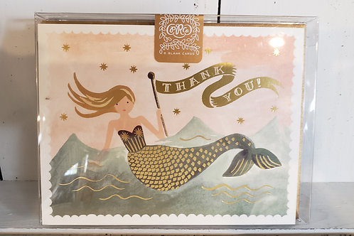 RIFLE PAPER MERMAID THANK YOU PACK OF 8