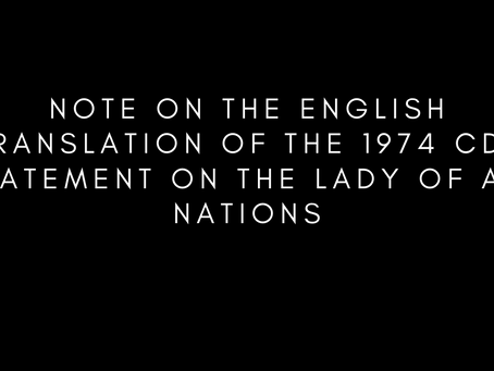 Note on the English Translation of the 1974 CDF Statement