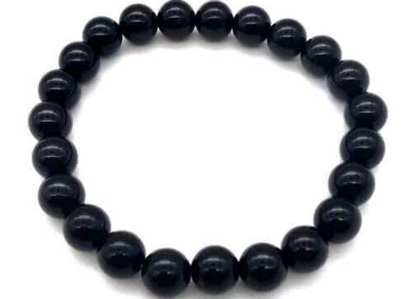 Bracelet Pierre Onix Noir Naturel / Perles 8 mm  Chine