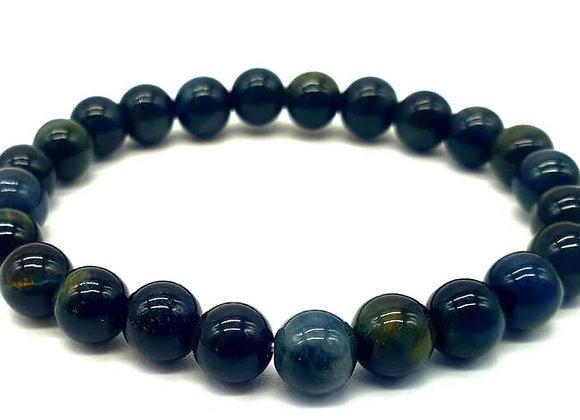 Bracelet  Œil de Faucon ou Tigre Bleu  Naturel / Perles 8 mm  Chine