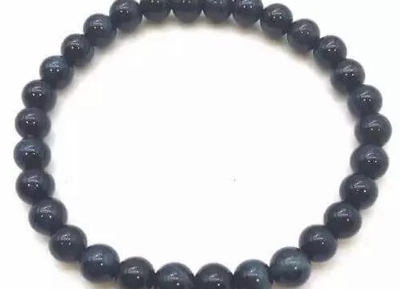 Bracelet  Œil de Faucon ou Tigre Bleu  Naturel / Perles 6 mm  Chine