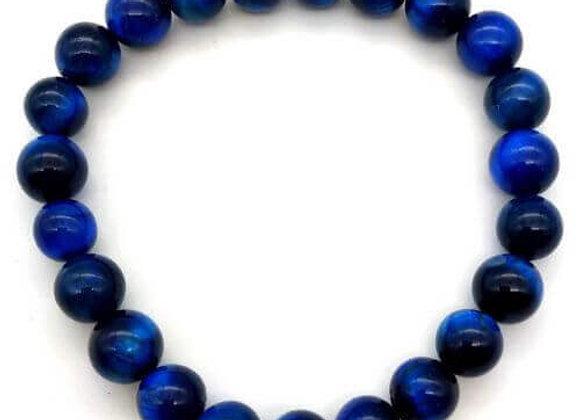 Bracelet Pierre Œil de Faucon ou  de Tigre Bleu / Perles 8 mm Chine