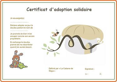 Certificat d'adoption de doudou solidaire, par La Cabane de Maya
