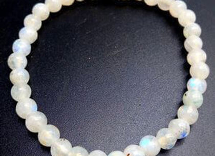 Bracelet Pierre de Lune Blanche Naturelle / Perles 8 mm  Brésil