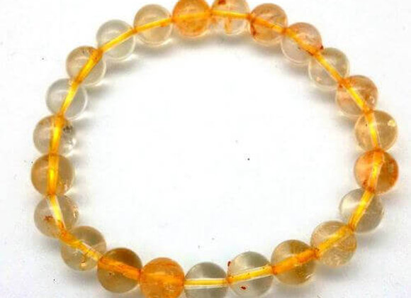Bracelet Pierre Citrine Naturelle / Perles 8 mm Chine