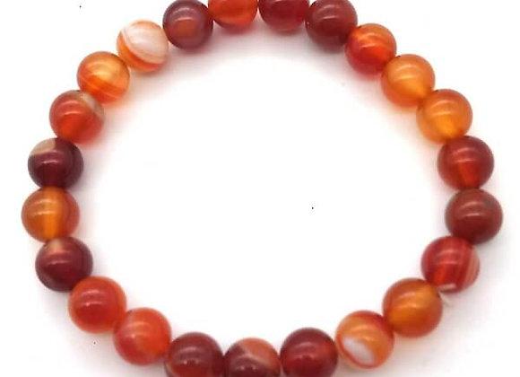 Bracelet Pierre Cornaline Naturelle / Perles 8 mm  Chine