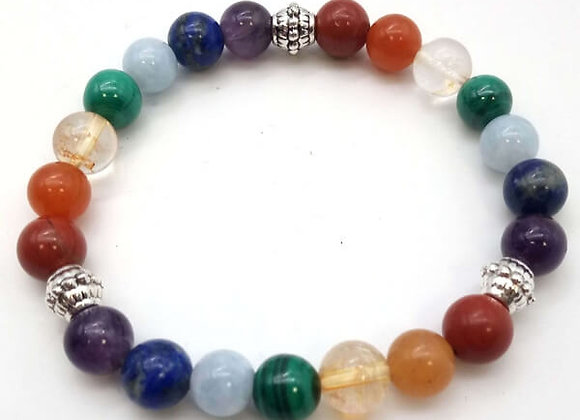 Bracelet 7 Chakras Premium 1-Mix Perles Naturelles/ 8 mm Chine