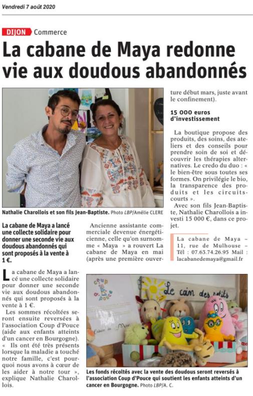 """""""La Cabane de Maya redonne vie aux doudous abandonnées"""" par Le Bien Public"""