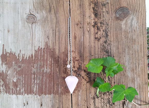 Pendule Conique Quartz Rose Naturel / Provenance Chine