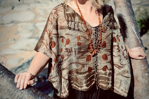 Hand stitched light wool gauze womens top
