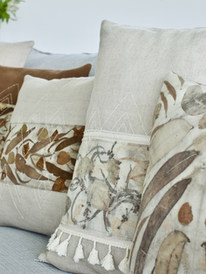 Eco dyed natural fibre cushion covers_