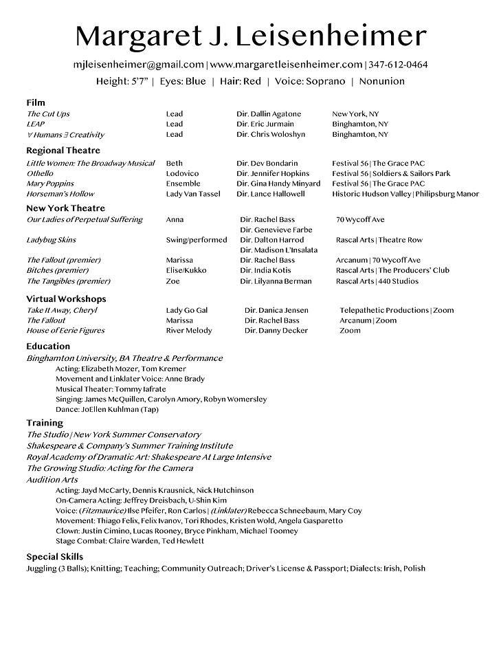 Margaret J. Leisenheimer Actor Resume.pn