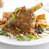 Asam Pedas Lamb Shank with steamed rice.